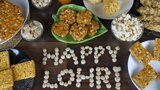 Zoom out shot of 'Happy Lohri' text written with rewri on a wooden table in India