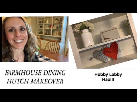 FARMHOUSE HUTCH MAKEOVER (no sanding!)   HOBBY LOBBY HAUL