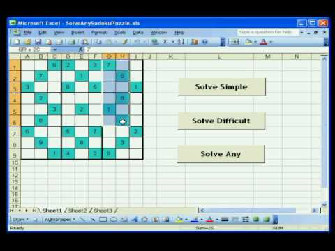 solve sudoku with excel using vba simple youtube