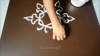 Simple free hand kolam for beginners / rangoli design without dots