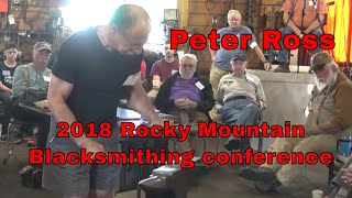 Peter Ross Demonstrating a scroll at the 2018 Rocky Mountain Blacksmithing conference