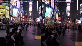 Sony A7S vs Canon G7X at Time Square New York [1080/60p]