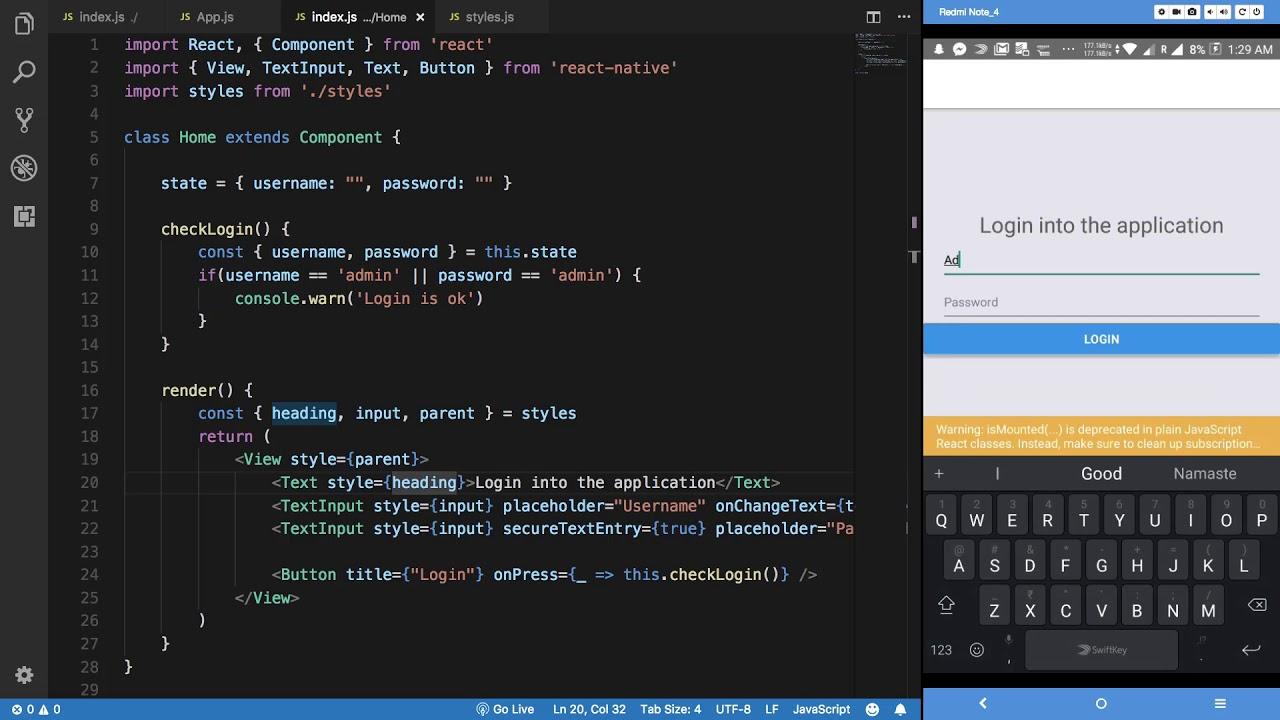 React Native Tutorial 24: Login Application - Part 3