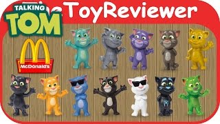 2016 talking tom mcdonalds happy meal toys complete of 12 unboxing toy review thetoyreviewer