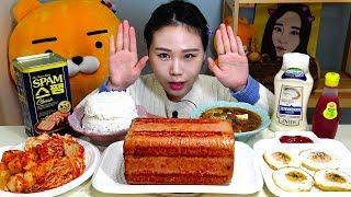 대형스팸구이 고봉밥 달걀후라이 된장찌개 먹방 Mukbang