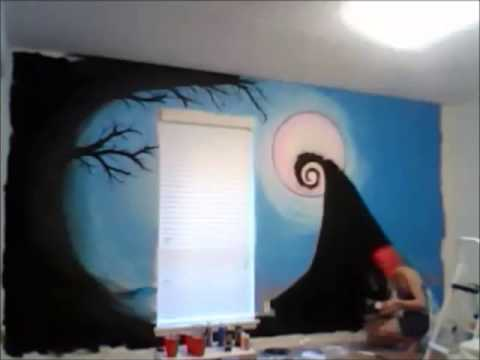 NIGHTMARE BEFORE CHRISTMAS WALL MURAL - YouTube