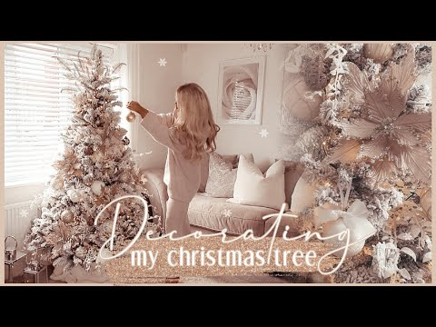 DECORATING MY CHRISTMAS TREE 2020 | neutral tones, nude, white + gold ✨ - YouTube