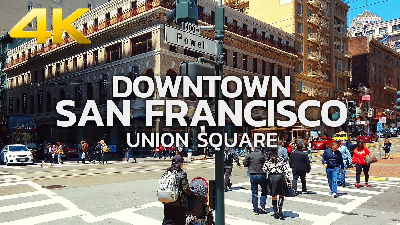 SAN FRANCISCO - Walking Downtown San Francisco, Union Square, California, USA, Travel - 4K UHD