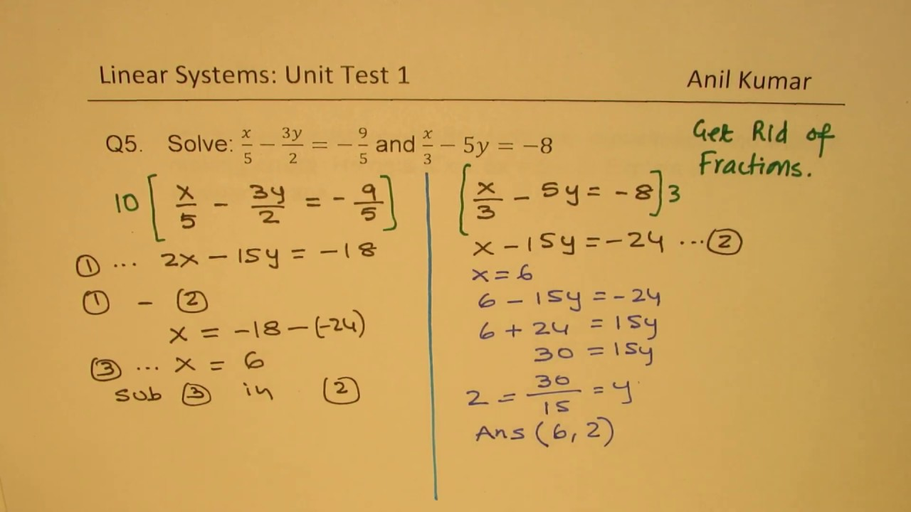 MPM2D Linear Systems with Word Problems Test 1 Grade 10