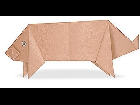 origami pig. оригами свинья. - YouTube - photo#49