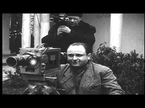Winston Churchill, Franklin Roosevelt and Joseph Stalin pose for photographs at Y...HD Stock Footage