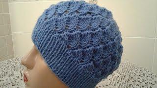 Ажурная шапочка спицами. Часть 1.  // Women's hats knitting // How to knit a hat