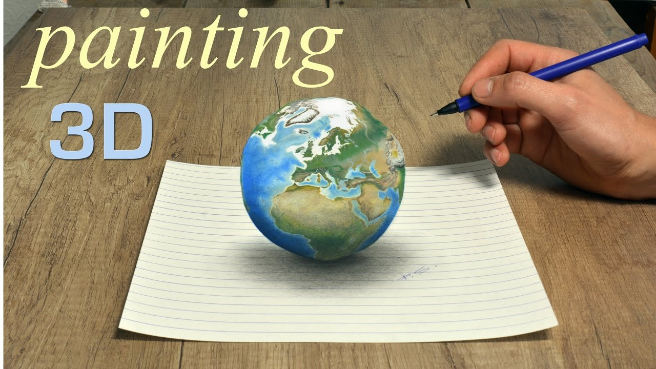 Planet earth amazing 3d painting pop art effect youtube for How to paint 3d