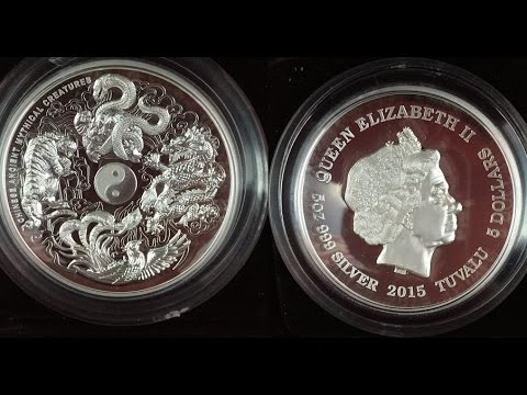 5 oz chinese Ancient mythical creatures high relief silver coin