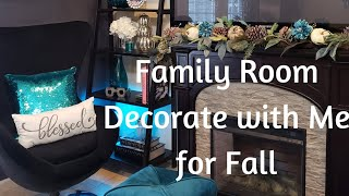 VLOGTOBER  DAY 4 DECORATE WITH ME BOOKSHELVES AND MANTEL IN FAMILY ROOM