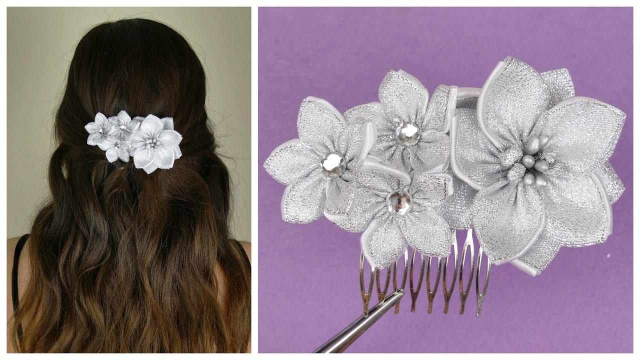 DIY Ribbon flower I Wedding hair comb I Kanzashi flower ...