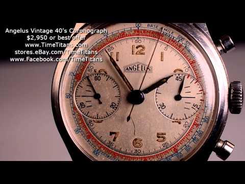 Angelus Vintage 1940'S XL Stainless Steel 38MM Screwback Telemeter 45 Minute Two Register
