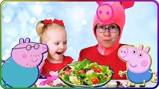 Тома и Игрушки Свинка Пеппа. Готовим ужин для игрушек из пластилина плей до. Видео для детей