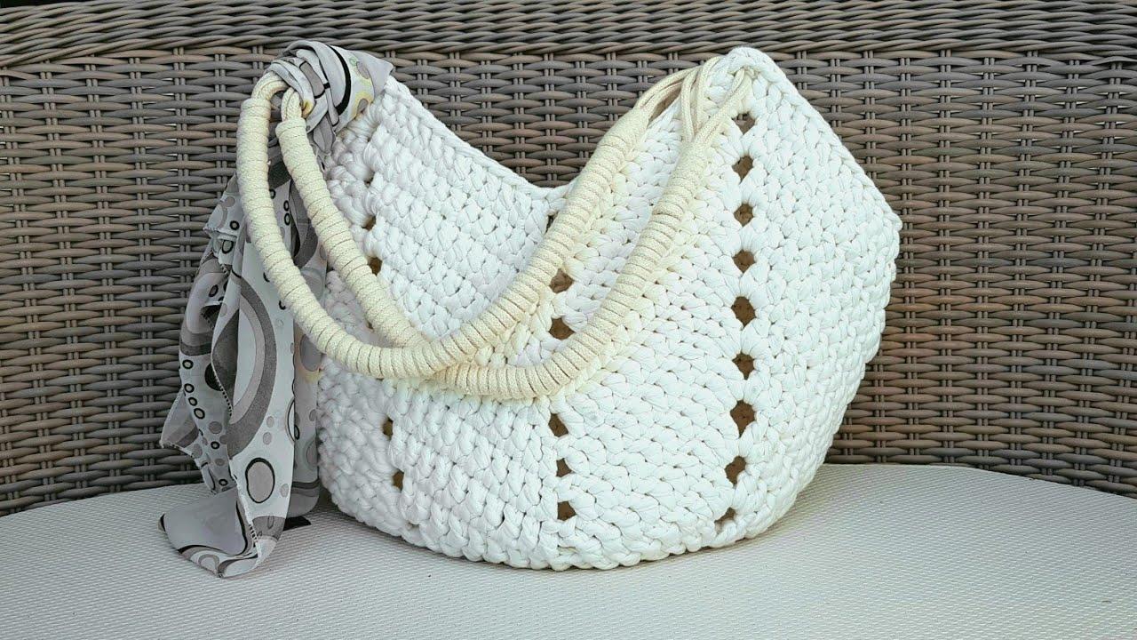 e0382711b Bolsa De Crochê Com Fio de Malha - Bolsa de Praia - Tutorial de Crochê -  Crochet Beach Bag Tutorial