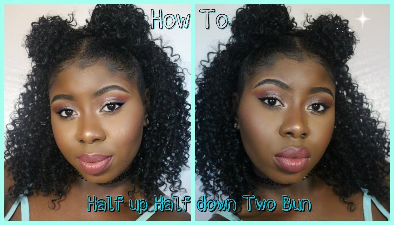 Half Wig 1 2 Up 1 2 Down Tutorial With 2 Buns On Natural Hair