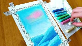 Oil pastel drawing # 41 / Winter snowfall scenery by Nova Art Studio /Easy  drawing with oil pastels