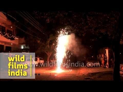 Children Burn Fire Crackers On The Eve Of Diwali Delhi