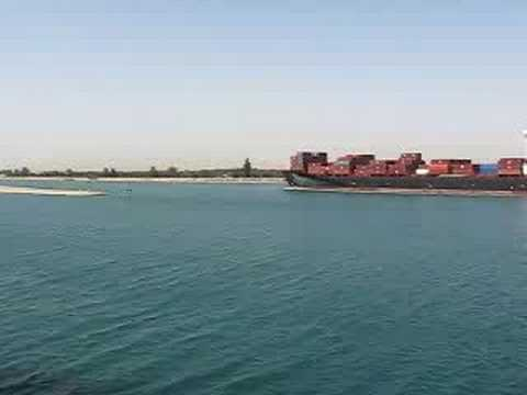 Suez Canal - ship entering Great Bitter Lake