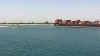 Suez Canal - ship entering Great Bitter Lake