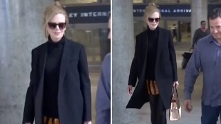 X17 EXCLUSIVE - Nicole Kidman Returns From Berlin, Shows Off Shorter Hair At LAX