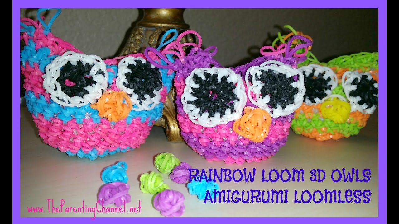 Amigurumi Loom Patterns : Rainbow loom 3d owl loomless amigurumi loomigurumi hook only youtube