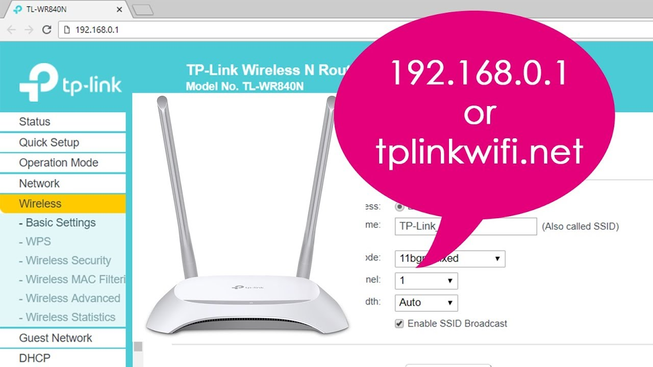 192.168.0.1 | Setup TP-LINK wireless N router TL-WR840N