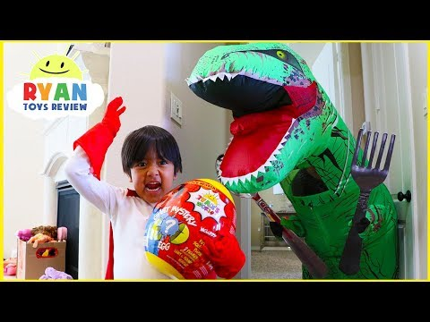 Ryan opens Giant Surprise Egg Ryans World | Pretend Play Hide and Seek with Giant Dinosaur