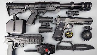 Toy Guns Toys !! Realistic Heavy Machine Gun Toy Pistol and Equipment