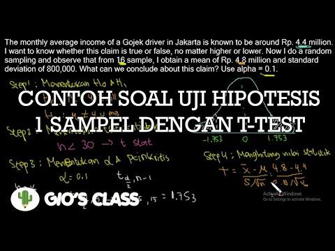 Contoh Soal Uji Hipotesis 1 Sampel Dengan T Test Youtube