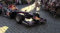 Sebastian Vettel mit dem Formel-1 Boliden durch die Straßen seiner Heimatstadt