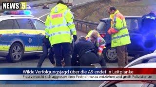 08.03.2017 (HO) Wilde Verfolgungsjagd über die A9 endet in Leitplanke