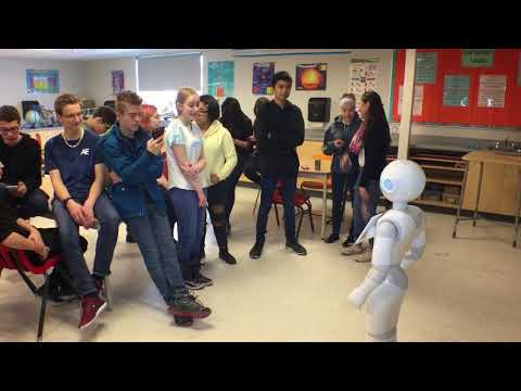 ATB robot 'Pepper' visits St. Thomas Aquinas Middle School in Red Deer