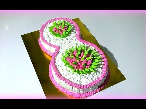 Торт на 8 Марта Торт цифра восемь из крема  Cake Mar. 8