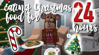 EATING ONLY CHRISTMAS FOOD FOR 24 HOURS ON ROBLOX BLOXBURG! | Roblox Bloxburg | Arabellaa