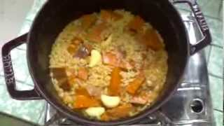 [tom's Delicious Recipe] How Easy To Make A Delicious Curry Pumpkin Rice With Staub Cast Iron Pan.