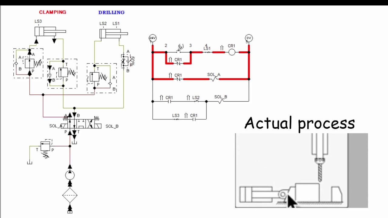 hydraulics clamping and drilling operation using fluidsim youtube rh youtube com Hydraulic Flow Control Valve Diagram Kubota Hydraulic System Schematic