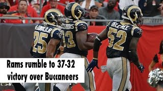 Rams defeat Buccaneers, 37-32, after weather delay in Tampa