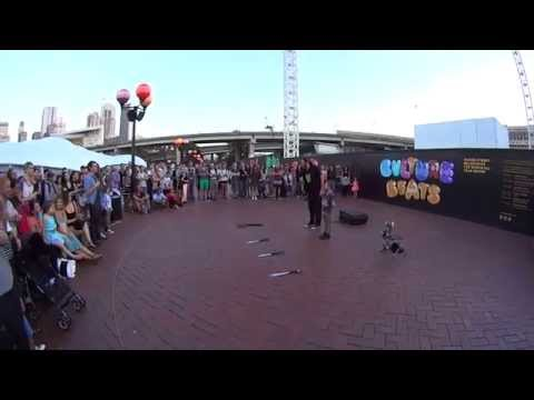 Street Performer - Funny Busker performs live at Darling Har