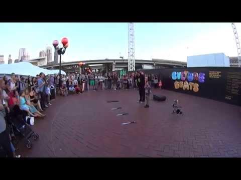 Street Performer - Funny Busker performs live at Darling Harbour Sydney Pt -1