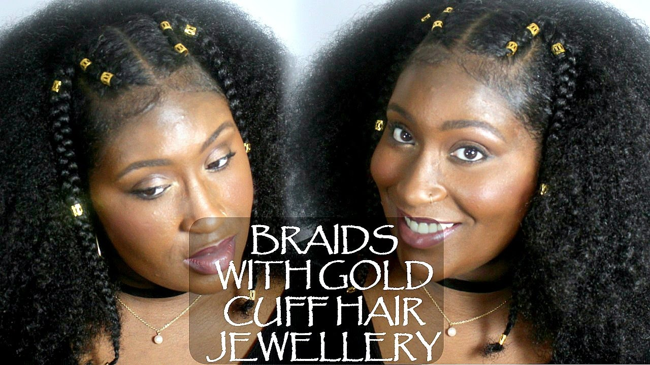 braids with gold cuff hair jewellery