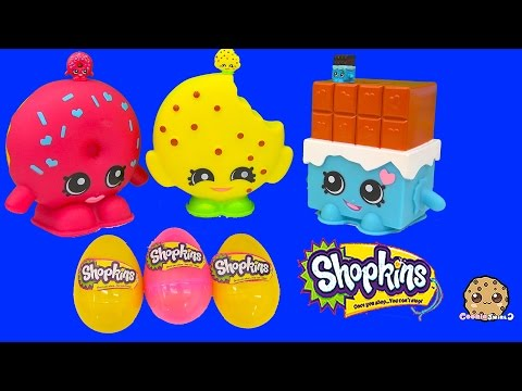 3 Shopkins Surprise Blind Bag Eggs + Season 1 Large Coin Banks Kooky Cookie Cheeky Chocolate Donut