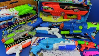 WATER GUN TOYS FOR KIDS !!!BOX OF TOYS with Colored Toy Guns !