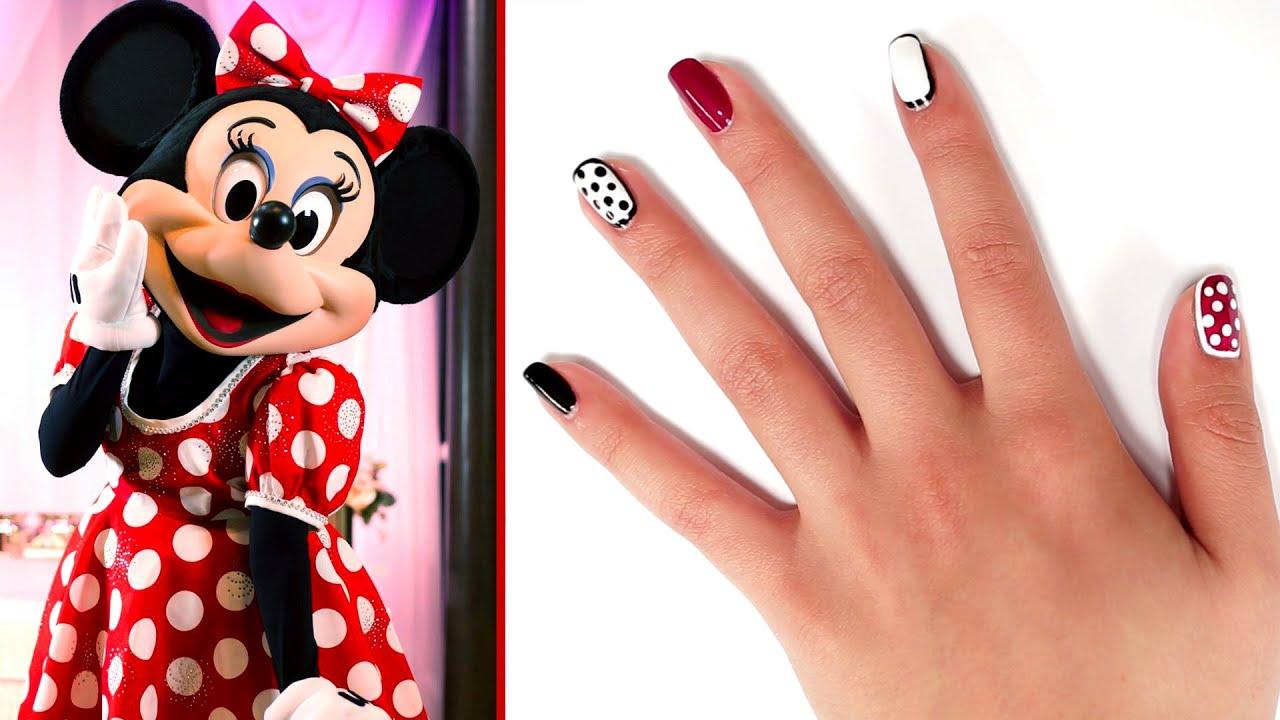 Minnie Style Polka Dot Nail Art Tutorial Tips By Disney Style