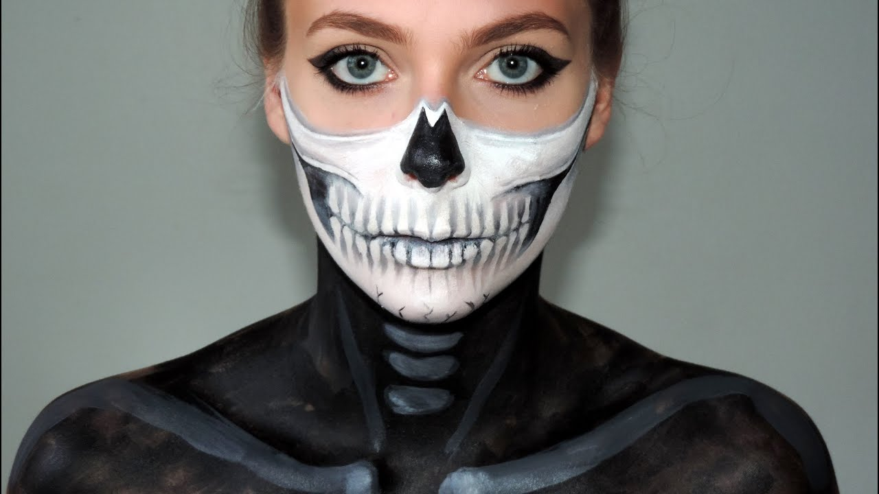 Uncategorized How To Skeleton Face Paint face paint half skull mask youtube mask