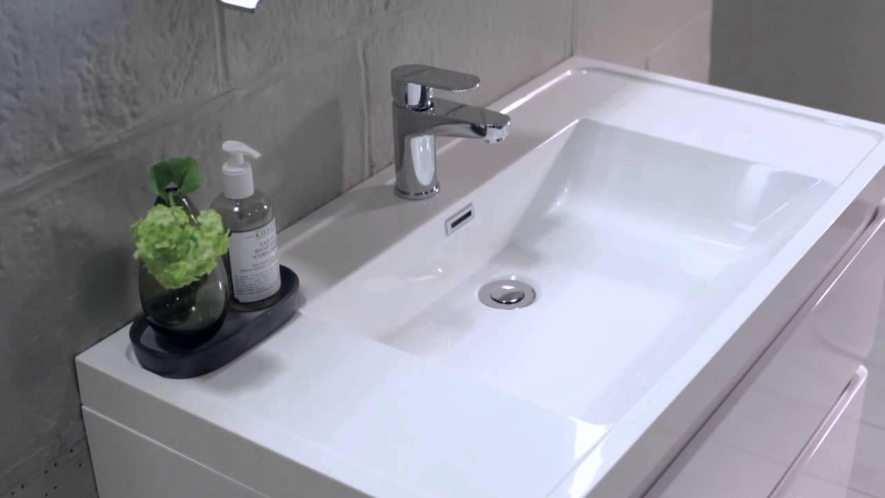 Soakology Evora 900mm Wall Hung White Wash Unit & Basin - YouTube
